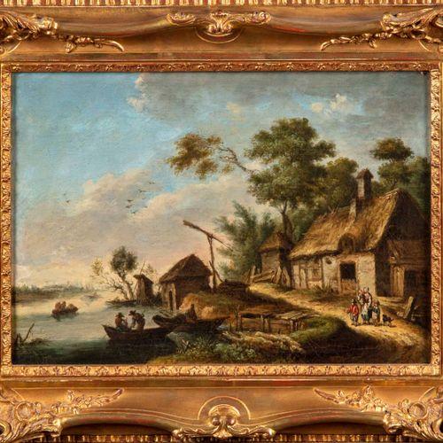 Ecole Flamande XIXè ECOLE FLAMANDE du début du XIXe  Chaumière devant une rivièr…