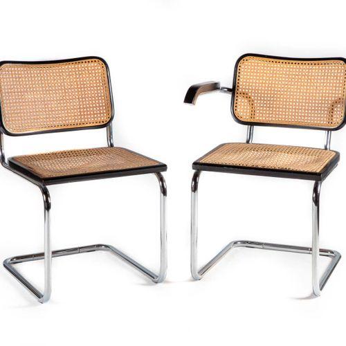 Ensemble composé d'une chaise et d'un fauteuil à structure en acier, bois laqué …