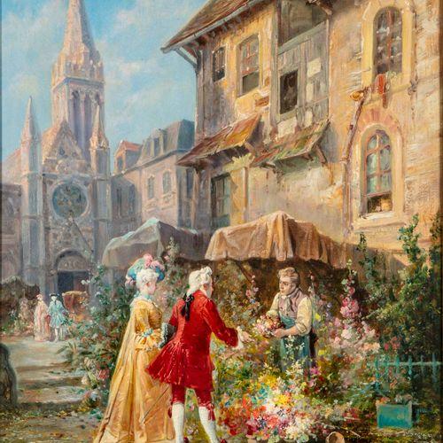 MARTIGNON E. MARTIGNON (XIXe)  Le fleuriste  Huile sur toile  Signé en bas à dro…