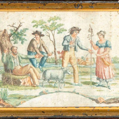 ECOLE FRANCAISE ECOLE FRANCAISE début XIXe  Scène pastorale  Gravure en couleur …