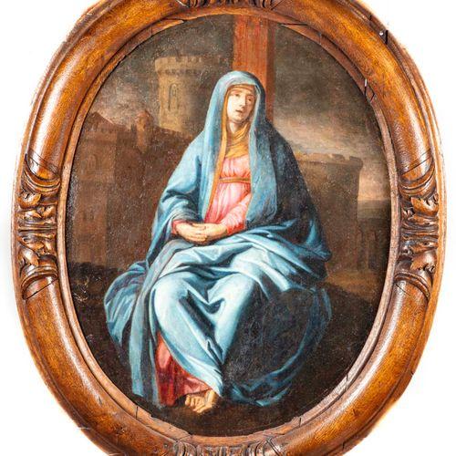Ecole française du XVIIIè ECOLE FRANCAISE du XVIIIe  Vierge  Huile sur toile ova…