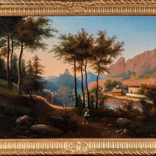 Ecole suisse ECOLE SUISSE de la fin du XIXe  Paysage de montagne animé de person…
