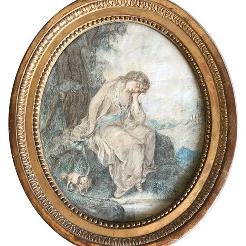 ECOLE FRANCAISE XIXè ECOLE FRANCAISE ou ANGLAISE du XIXe  La jeune fille pensive…