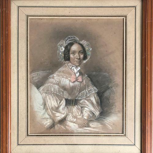 BOILLY Julien Léopold BOILLY (1796 1874)  Portrait de femme au bonnet de dentell…