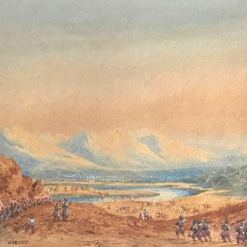 Gaspard Gobaut Gaspard GOBAUT (1814 1882)  Scène de combat en Afrique  Aquarelle…