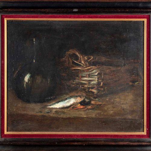 GERMAIN RIBAUT Germain RIBAUT (1845 1893)  Nature morte aux sardines  Huile sur …
