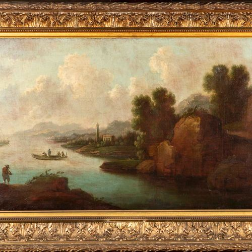 Ecole Flamande XIXè ECOLE FLAMANDE du XIXe  Paysage fluvial  Huile sur toile  53…