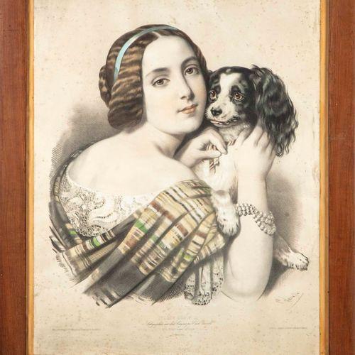 LEPAULE D'après Lépaule, gravé par Emile Lassalle  Jolly !, Portrait de femme au…