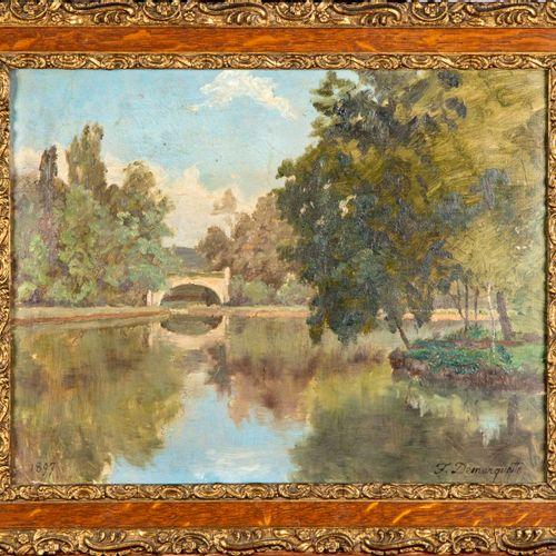 DEMARQUETTE DEMARQUETTE  L'étang  Huile sur carton  Signé en bas à droite  25 x …