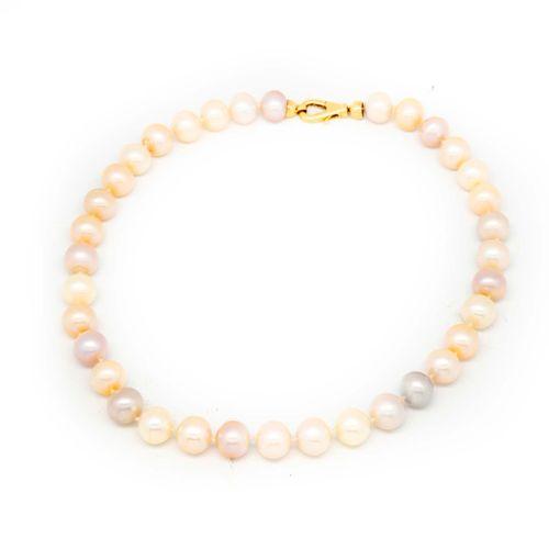 Collier de 35 perles de rivière rosées et grisées, fermoir en or