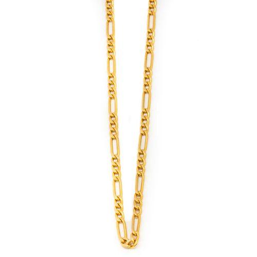 Chaine en or jaune à maillons plats  Poids : 14,3 g.