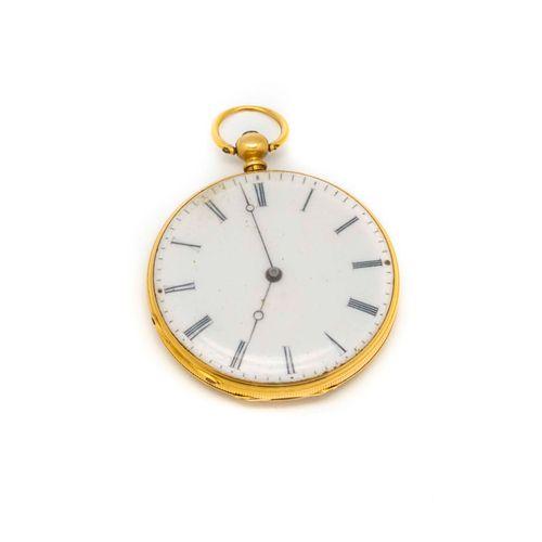 Montre de poche en or jaune, à décor de feuilles de lière au dos  Poids brut : 2…