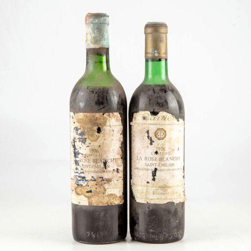2 bouteilles CHÂTEAU LA ROSE BLANCHE 1976 Saint Emilion  Niveau Bas  Etiquette f…