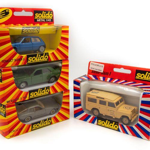 SOLIDO SOLIDO 1/43  Lot de 4 véhicules en BO : une Porsche 944 n°1348, une MErce…