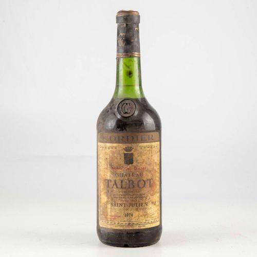 1 bouteille CHÂTEAU TALBOT 1974 Saint Julien  Niveau bas  Etiquette fanée