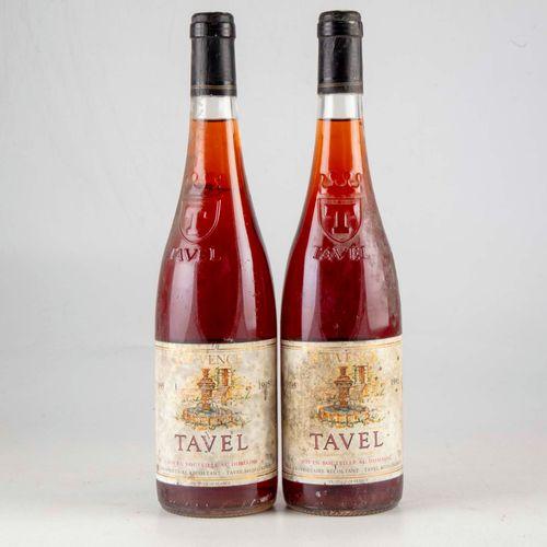 2 bouteilles CÔTES DU RHÔNE 1995 Jouvence Tavel  Niveau Bon  Etiquettes fanée et…