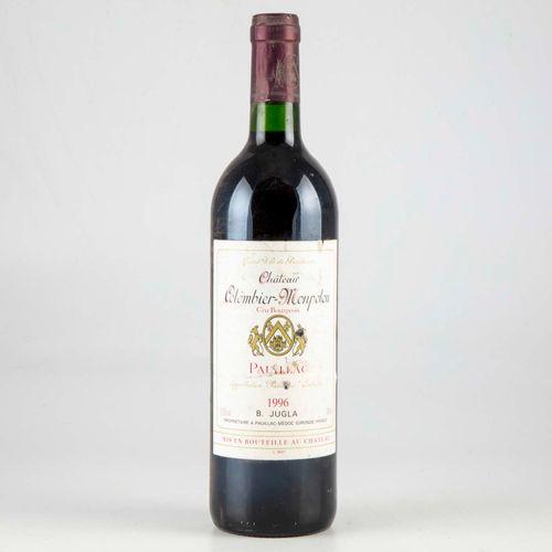 1 bouteille CHATEAU COLOMBIER MONTELOU 1996 Pauillac  Niveau très léger bas  Eti…