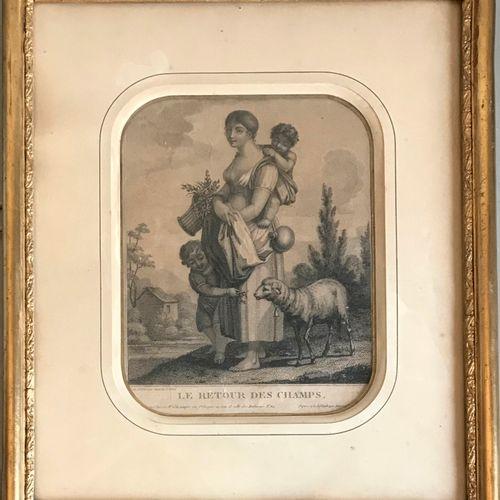 ECOLE FRANCAISE début du XIXe, gravé par Augustin LE GRAND  Le retour des champs…