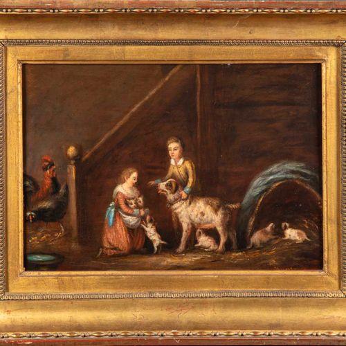 ECOLE FLAMANDE du XIXe  Deux enfants avec leur chienne et ses petits  Huile sur …