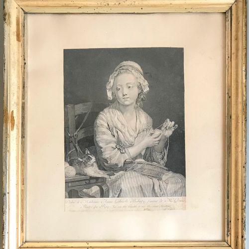 GREUZE D'après Jean Baptiste GREUZE  La dévideuse de laine  Gravure en noir (cou…