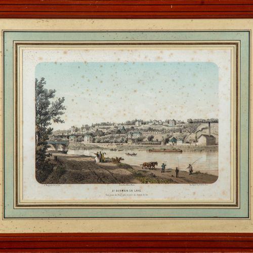 MAUGENDRE A. MAUGENDRE (XIXe)  Saint Germain en Laye  Gravure en couleur  24,5 c…