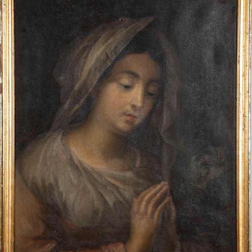"""ECOLE FRANCAISE XIXe  Femme en prière  Huile sur toile  Signé et daté """"Ecalard 1…"""