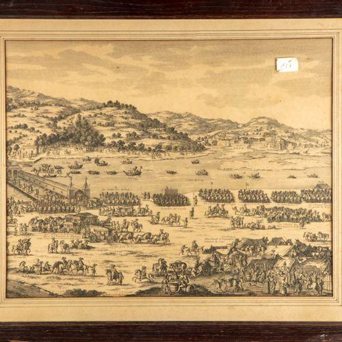 D'après le XVIIIe  L'armée en déplacement  Paire de gravures  H. : 38,5 cm ; L. …
