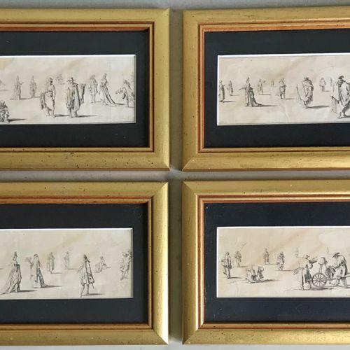 LECLERC D'après Sébastien LECLERC  Etudes de personnages  Suite de quatre gravur…