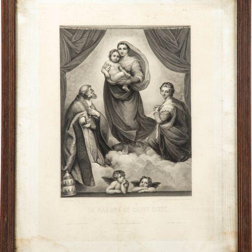 RAPHAËL D'après RAPHAEL, gravé par BLANCHARD et Gustave LEVY  La Madone de Saint…