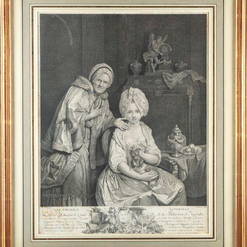 WILLE D'après P.A WILLE , gravé par L. LEMPEREUR  Les Conseils maternels  Gravur…