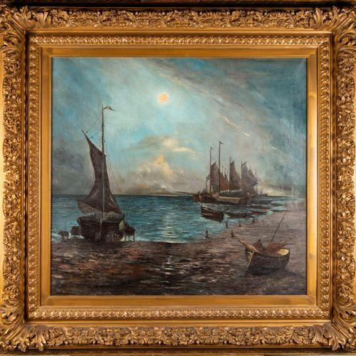 ECOLE FRANCAISE fin XIXe début XXe  Marine au clair de lune  Huile sur toile  75…