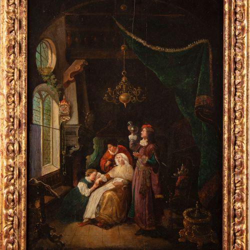 ECOLE HOLLANDAISE XIXe, d'après le XVIIe  La visite du médecin  Huile sur pannea…