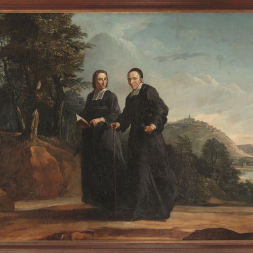 ECOLE FRANCAISE DU XIXe siècle  L'abbé Tournus en compagnie du diacre Pâris sur …
