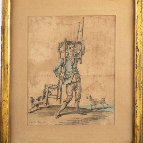 VERNET Carle VERNET (1758 1836)  Le voleur pourchassé par les chiens  Lithograph…