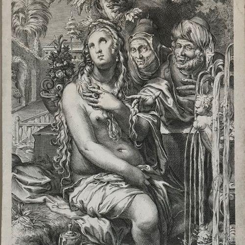 Goltzius D'après Hendrik GOLTZIUS (1558 1617)  Suzanne et les Vieillards  Gravur…