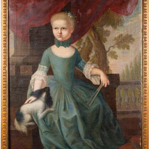 ECOLE ALLEMANDE du XVIIIe  Jeune fille et son chien, assise devant un paysage  H…