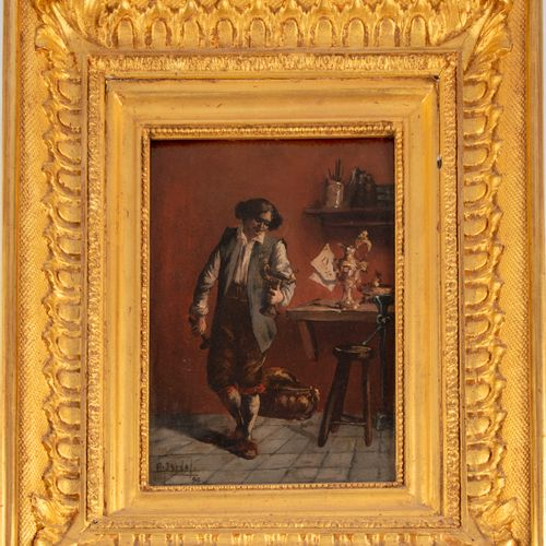 ECOLE FRANCAISE du XIXe  Le Maître orfèvre dans son atelier  Huile sur panneau, …