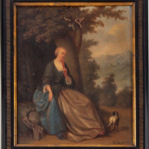 PLATTEEL J. PLATTEEL XIXe  Dame de qualité au chien  Huile sur panneau, signée e…