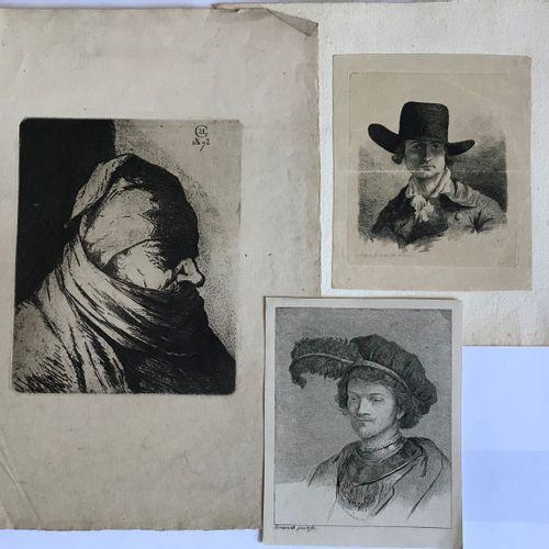 Rembrandt D'après REMBRANDT, LE GROS et divers  Portraits  Trois gravures en feu…