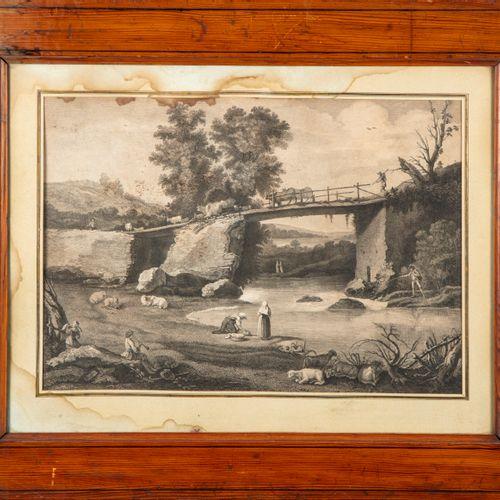 ECOLE HOLLANDAISE début XIXe  Scène pastorale au pont  Gravure en noir et blanc …