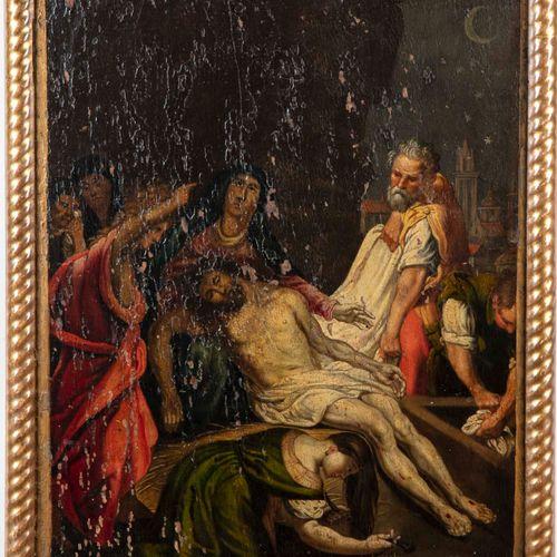 ECOLE FRANCAISE? du XVIIe  La déposition du Christ  Huile sur panneau  57 x 42,…