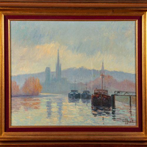 HUET Jacques HUET (1937)  Bord de Seine  Huile sur toile, signée en bas à droite…