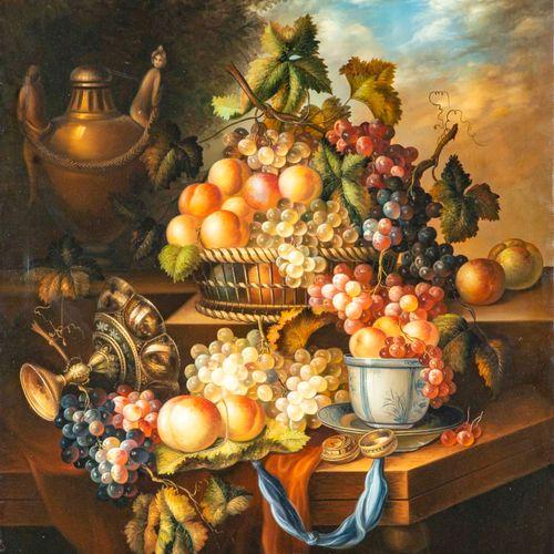 D'après une ECOLE HOLLANDAISE du XVIIe  Nature morte aux raisins  Procédé décora…