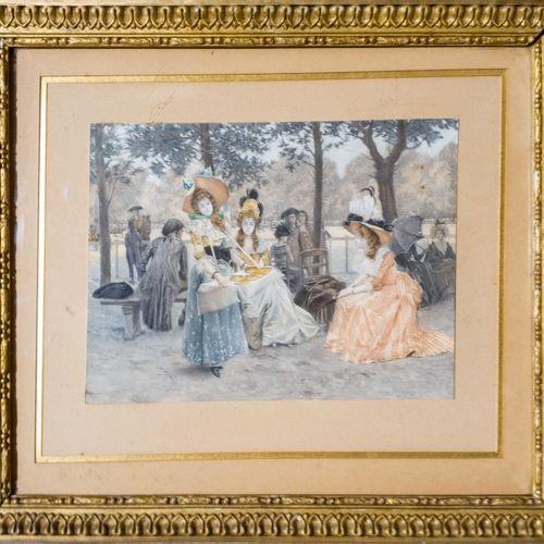 FLAMENG François FLAMENG (1877 1957)  Jardins publics  Paire de gravures en coul…