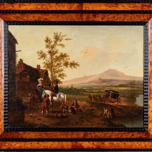 VAN FALENS Dans le goût de Carl van FALENS (1683 1733)  Le départ pour la chasse…