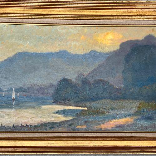 MALET Albert MALET  Bord de Seine au coucher du soleil, la Seine à Villequier  H…