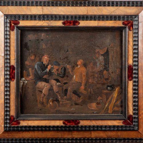 ECOLE FLAMANDE du XIXe, dans le goût du XVIIe  Groupe de fumeurs dans une auberg…