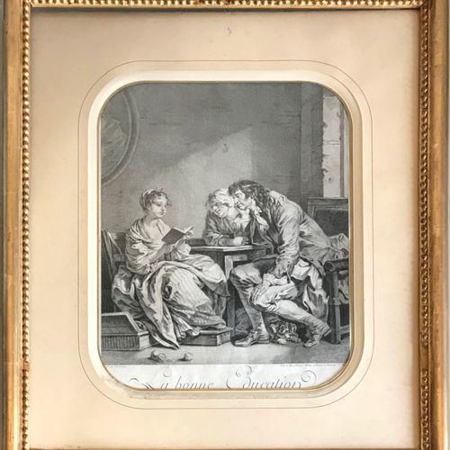 GREUZE D'après Jean Baptiste GREUZE, gravé par MOREAU  La Bonne éducation  Gravu…