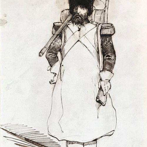 BOUILLERON Adolphe BOUILLERON ( 1820 1881)  Grenadier de l'Empire  Dessin à l'en…