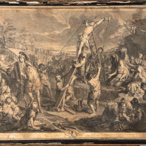 LE BRUN D'après Charles LE BRUN, gravé par AUDRAN  La crucifixion  Moïse et le s…